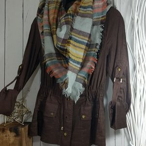 Cache Brown Linen Jacket with Gold Accents XS